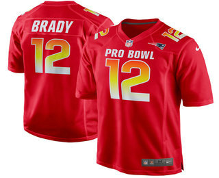 Men's New England Patriots #12 Tom Brady Red 2018 Pro Bowl Stitched NFL Nike Game Jersey
