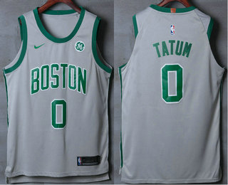 Men's Boston Celtics #0 Jayson Tatum Grey 2017-2018 Nike Authentic General Electric Stitched NBA Jersey