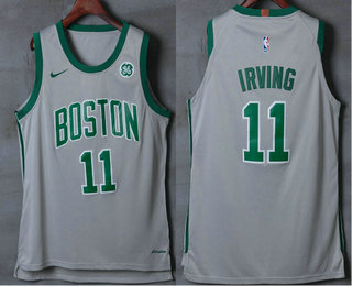 Men's Boston Celtics #11 Kyrie Irving Grey 2017-2018 Nike Authentic General Electric Stitched NBA Jersey