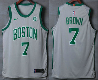 Men's Boston Celtics #7 Jaylen Brown Grey 2017-2018 Nike Authentic General Electric Stitched NBA Jersey