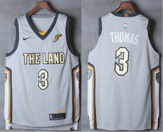 Men's Cleveland Cavaliers #3 Isaiah Thomas Gray The Land 2017-2018 Nike Authentic Stitched NBA Jersey