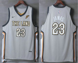 Men's Cleveland Cavaliers #23 LeBron James Gray The Land 2017-2018 Nike Authentic Stitched NBA Jersey
