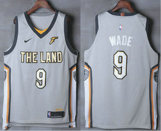 Men's Cleveland Cavaliers #9 Dwyane Wade Gray The Land 2017-2018 Nike Authentic Stitched NBA Jersey