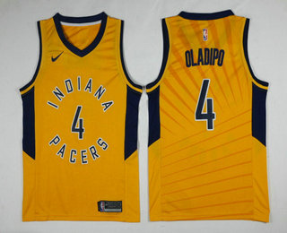 Men's Indiana Pacers #4 Victor Oladipo New Yellow 2017-2018 Nike Swingman Stitched NBA Jersey