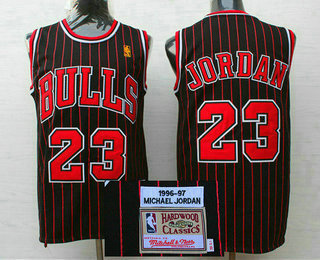 Men's Chicago Bulls #23 Michael Jordan 1996-97 Black Pinstripe Hardwood Classics Soul Swingman Throwback Jersey