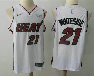 Men's Miami Heat #21 Hassan Whiteside White 2017-2018 Nike Swingman Ultimate Software Stitched NBA Jersey
