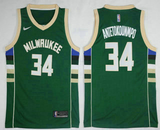 Men's Milwaukee Bucks #34 Giannis Antetokounmpo Green 2017-2018 Nike Swingman Stitched NBA Jersey