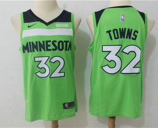 Men's Minnesota Timberwolves #32 Karl-Anthony Towns New Green 2017-2018 Nike Swingman Fitbit Stitched NBA Jersey