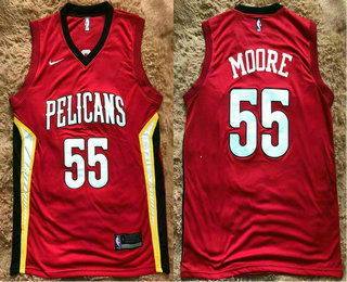 Men's New Orleans Pelicans #55 E'Twaun Moore New Red 2017-2018 Nike Swingman Stitched NBA Jersey