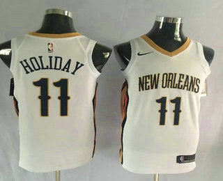 Men's New Orleans Pelicans #11 Jrue Holiday New White 2017-2018 Nike Swingman Stitched NBA Jersey
