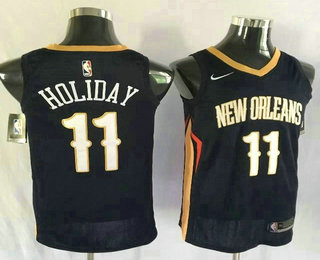 Men's New Orleans Pelicans #11 Jrue Holiday New Navy Blue 2017-2018 Nike Swingman Stitched NBA Jersey