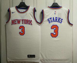 Men's New York Knicks #3 John Starks New White 2017-2018 Nike Swingman Stitched NBA Jersey