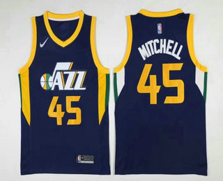 Men's Utah Jazz #45 Donovan Mitchell Navy Blue 2017-2018 Nike Swingman Stitched NBA Jersey
