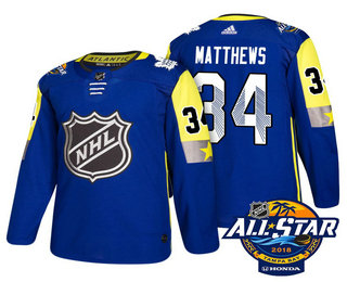 Men's Toronto Maple Leafs #34 Auston Matthews Blue 2018 NHL All-Star Stitched Ice Hockey Jersey