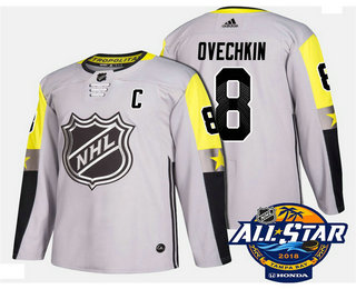 Men's Washington Capitals #8 Alex Ovechkin Grey 2018 NHL All-Star Stitched Ice Hockey Jersey