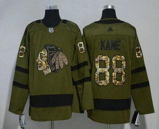 Men's Chicago Blackhawks #88 Patrick Kane Green Salute to Service 2017-2018 Hockey Stitched NHL Jersey