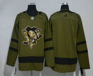 Men's Pittsburgh Penguins Blank Green Salute to Service 2017-2018 Hockey Stitched NHL Jersey
