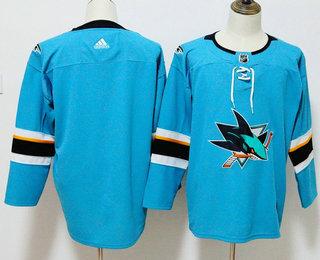 Men's San Jose Sharks Blank Teal Blue 2017-2018 Hockey Stitched NHL Jersey