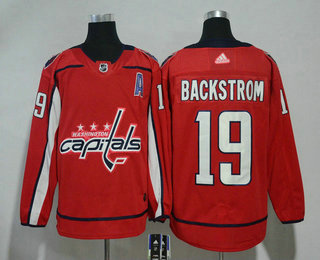 Men's Washington Capitals #19 Nicklas Backstrom Red With A Patch 2017-2018 Hockey Stitched NHL Jersey