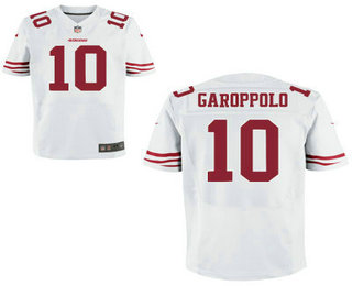 Men's San Francisco 49ers #10 Jimmy Garoppolo White Road Stitched NFL Nike Elite Jersey