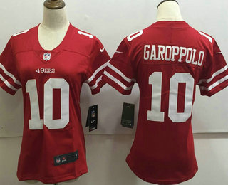 Women's San Francisco 49ers #10 Jimmy Garoppolo Red 2017 Vapor Untouchable Stitched NFL Nike Limited Jersey