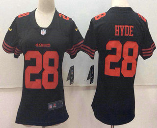 Women's San Francisco 49ers #28 Carlos Hyde Black 2017 Vapor Untouchable Stitched NFL Nike Limited Jersey
