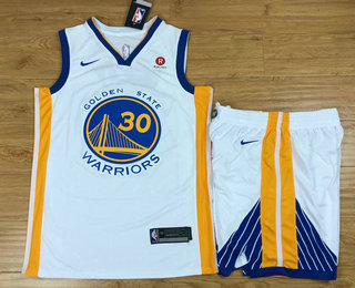 Men's Golden State Warriors #30 Stephen Curry White 2017-2018 Nike Swingman Rakuten Stitched NBA Jersey With Shorts