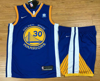 Men's Golden State Warriors #30 Stephen Curry Blue 2017-2018 Nike Swingman Rakuten Stitched NBA Jersey With Shorts