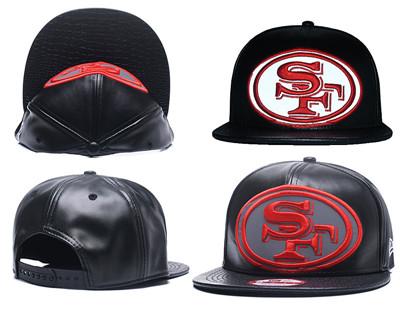 NFL San Francisco 49ers Team Logo Black Reflective Adjustable Hat A25