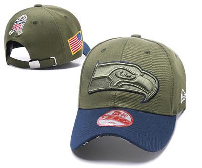 NFL Seahawks Team Logo Olive Peaked Adjustable Hat Q56