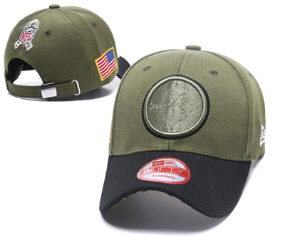 NFL Pittsburg Steelers Team Logo Olive Peaked Adjustable Hat 101