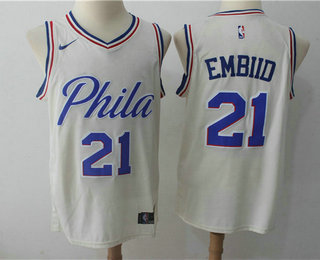Men's Philadelphia 76ers #21 Joel Embiid Cream Nike City Edition Swingman Jersey