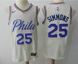 Men's Philadelphia 76ers #25 Ben Simmons Cream Nike City Edition Swingman Jersey
