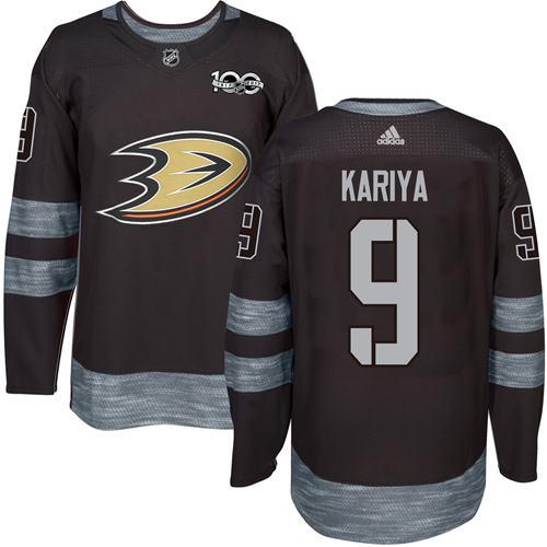 Adidas Ducks #9 Paul Kariya Black 1917-2017 100th Anniversary Stitched NHL Jersey