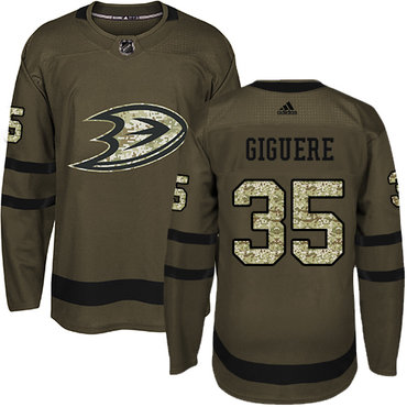 Adidas Ducks #35 Jean-Sebastien Giguere Green Salute to Service Stitched NHL Jersey