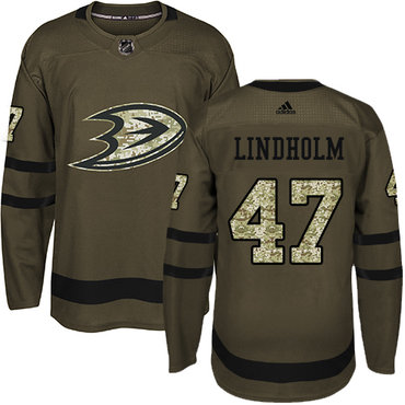 Adidas Ducks #47 Hampus Lindholm Green Salute to Service Stitched NHL Jersey