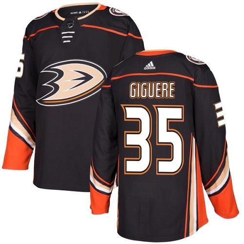 Adidas Ducks #35 Jean-Sebastien Giguere Black Home Authentic Stitched NHL Jersey