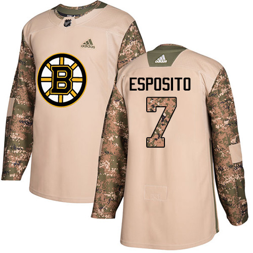 Adidas Bruins #7 Phil Esposito Camo Authentic 2017 Veterans Day Stitched NHL Jersey