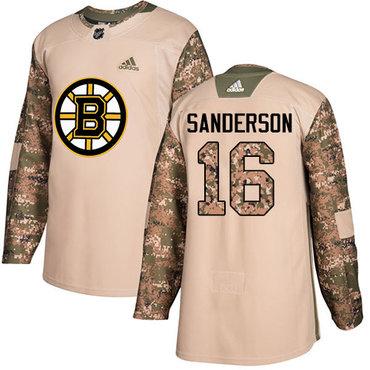 Adidas Bruins #16 Derek Sanderson Camo Authentic 2017 Veterans Day Stitched NHL Jersey