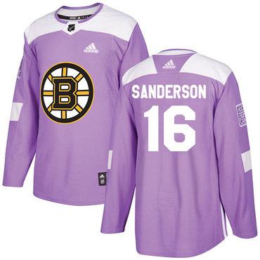 Adidas Bruins #16 Derek Sanderson Purple Authentic Fights Cancer Stitched NHL Jersey