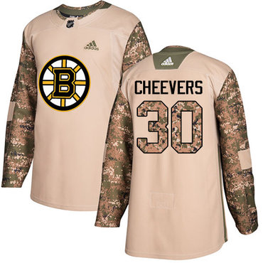 Adidas Bruins #30 Gerry Cheevers Camo Authentic 2017 Veterans Day Stitched NHL Jersey