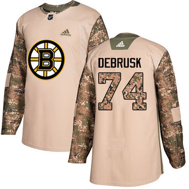 Adidas Bruins #74 Jake DeBrusk Camo Authentic 2017 Veterans Day Stitched NHL Jersey