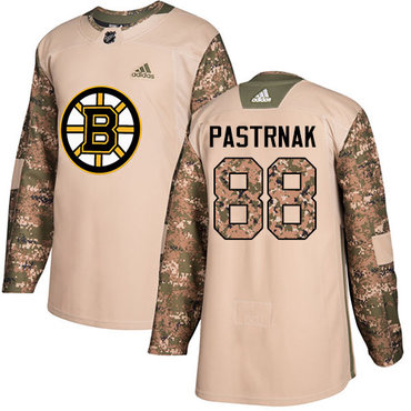 Adidas Bruins #88 David Pastrnak Camo Authentic 2017 Veterans Day Stitched NHL Jersey