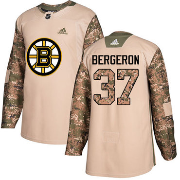 Adidas Bruins #37 Patrice Bergeron Camo Authentic 2017 Veterans Day Stitched NHL Jersey