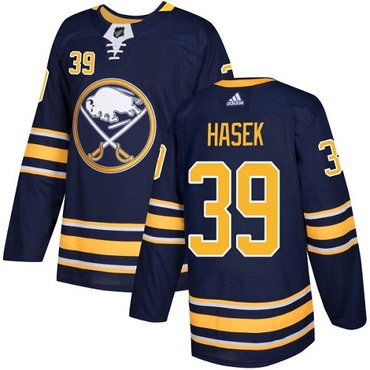 Adidas Sabres #39 Dominik Hasek Navy Blue Home Authentic Stitched NHL Jersey