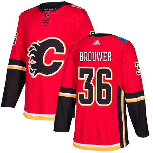 Adidas Flames #36 Troy Brouwer Red Home Authentic Stitched NHL Jersey