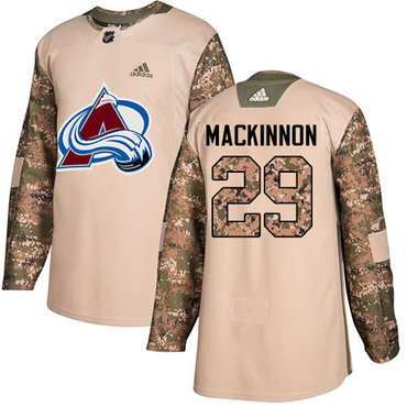 Adidas Avalanche #29 Nathan MacKinnon Camo Authentic 2017 Veterans Day Stitched NHL Jersey