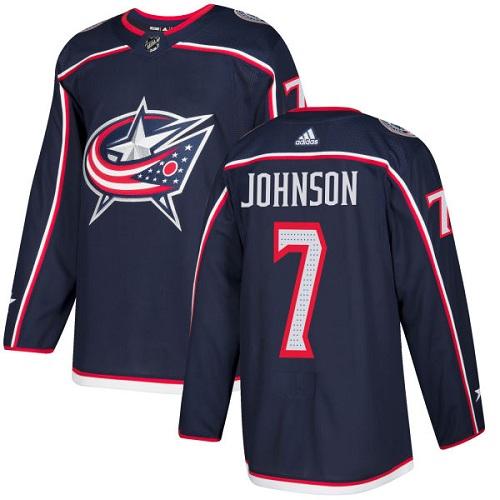 Adidas Blue Jackets #7 Jack Johnson Navy Blue Home Authentic Stitched NHL Jersey