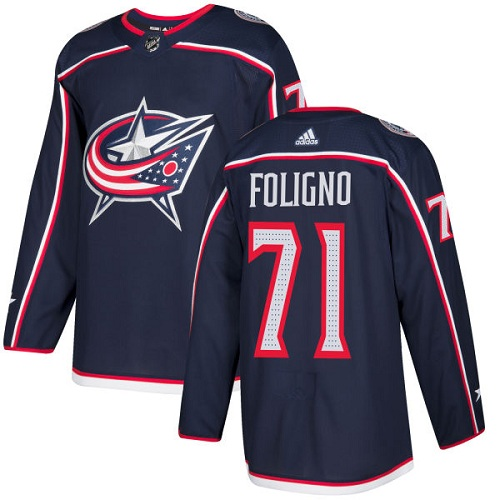 Adidas Blue Jackets #71 Nick Foligno Navy Blue Home Authentic Stitched NHL Jersey