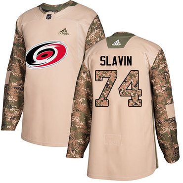 Adidas Hurricanes #74 Jaccob Slavin Camo Authentic 2017 Veterans Day Stitched NHL Jersey